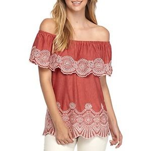 Super cute off the shoulder coral top